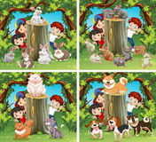 Children and wild animals in the forest Royalty Free Stock Photos