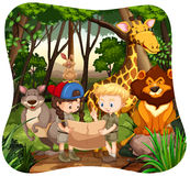 Children and wild animals in jungle Royalty Free Stock Photography