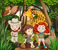 Children and wild animals in the woods. Illustration Stock Images