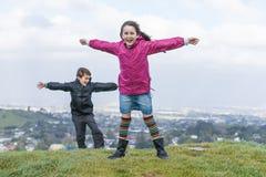 Children in the wind. Stock Photo