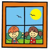 Children and window Stock Photography