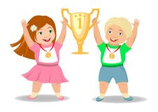 Children winners. Rejoice together and lift the gold Cup for a sports victory boy and girl with medals Stock Photography