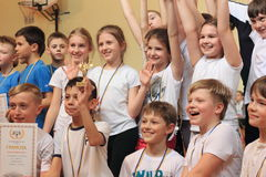 Children are the winners of sports competitions. The winning team in the school competition Merry starts. Students of 4 classes Kiev secondary schools at a Stock Photography