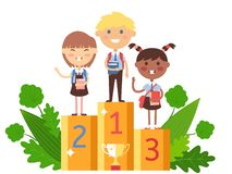 Free Children Winning In School Competition, Vector Illustration. Smart Kids With Books On Winner Podium, Happy Boy And Girl Stock Photos - 164423563