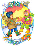 Children in the winter stock illustration