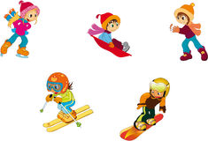 Children - winter. Vectors illustration shows children playing in the winter Stock Image