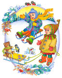 Children in the winter. Watercolor illustration of a series of Children and the seasons. Winter Royalty Free Stock Images