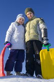 Children on winter. Sister and brother Royalty Free Stock Photography
