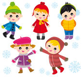Children on winter. Illustration of five kids with winter clothes on a white background with snowflakes Stock Image