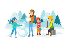 Children winter activities: skate, sculpt snowman, engaged in winter fishing. Stock Images