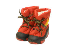 Children winter boot Royalty Free Stock Images