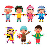 Children winter boys and girls Stock Photography