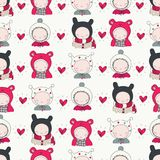 Children in Winter Cloth pattern royalty free illustration
