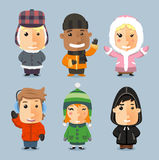 Children in winter clothes Stock Photo