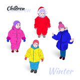 Color illustration of children in the vector. stock photography