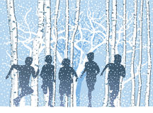 Children in winter forest Stock Images