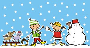 Children and winter game. Boy, girl and dog and cat on sled. Snowman Stock Photo
