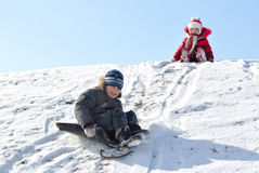 Children at the Winter Hill. royalty free stock image
