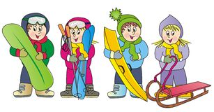 Children in winter. Kids have sports equipment - skis, sled, skateboard and beans Stock Photography