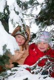 Children in winter park Stock Photo