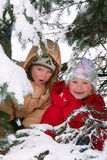 Children in winter park Stock Images