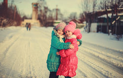 Children on winter roads. Happy children on winter roads, children smiling Stock Photos