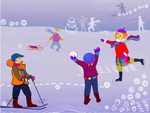 Children winter sports stock illustration