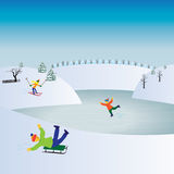 Children and winter sports. Kids playing winter games. Stock Photo