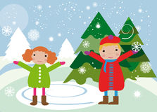Children and winter. Vector graphic image with winter landscape and happy adorable children Stock Photos