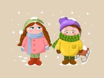 Children in the winter weather having fun. stock illustration