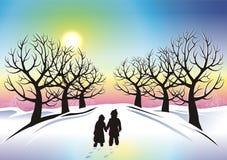 Children in Winter Wonderland. Abstract Illustration Stock Image