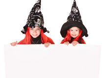 Children  witch holding banner . Stock Photo