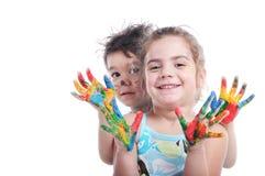 Children witn painted hands Stock Image