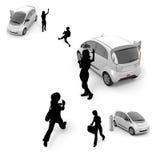 Children / woman / electric car Stock Photos