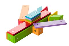 Children magnetic constructor. Children wood magnetic constructor from 2 to 5 years Stock Photography