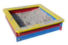 Children wooden sand box. On playground. Isolated with patch stock photos