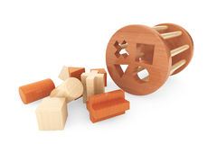 Children wooden shape sorter toy. On a white background Stock Image