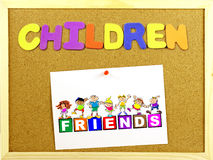 Children word on a corkboard Royalty Free Stock Photo