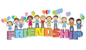 Children on the word friendship Stock Image