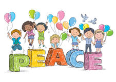 Children on the word peace Royalty Free Stock Photography