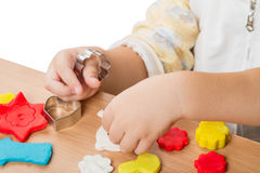 Children work with modeling clay Stock Photo