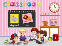 Children working in the classroom Royalty Free Stock Image