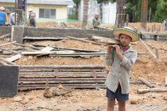 Children working at construction site, Violence children and tra royalty free stock photography