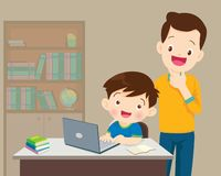 Dad be happy for something of children boy with laptop. Children working laptop,Dad be happy for something of children boy with laptop vector illustration
