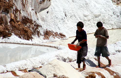 Children working in a salt mine Stock Image
