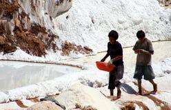 Children working in a salt mine stock image
