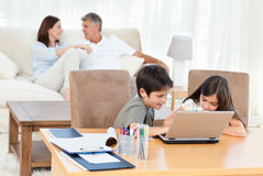 Children working on their laptop Royalty Free Stock Image