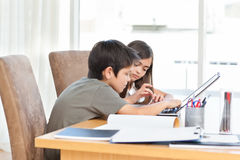 Children working on their laptop Royalty Free Stock Photography