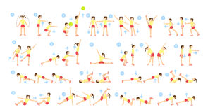 Children workout set. Children workout set on white background. Exercise for small kids Stock Photo