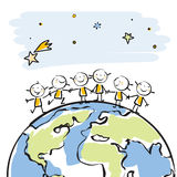 Children of the world. Little people together on top of the globe  illustration, sticky children's drawing style series, grouped and layered for easy editing Royalty Free Stock Image